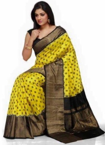 Beautiful New Design Pochampally Ikkat Yellow Saree
