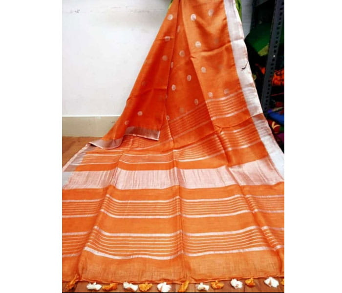 Orange Lenin Butta Design Saree