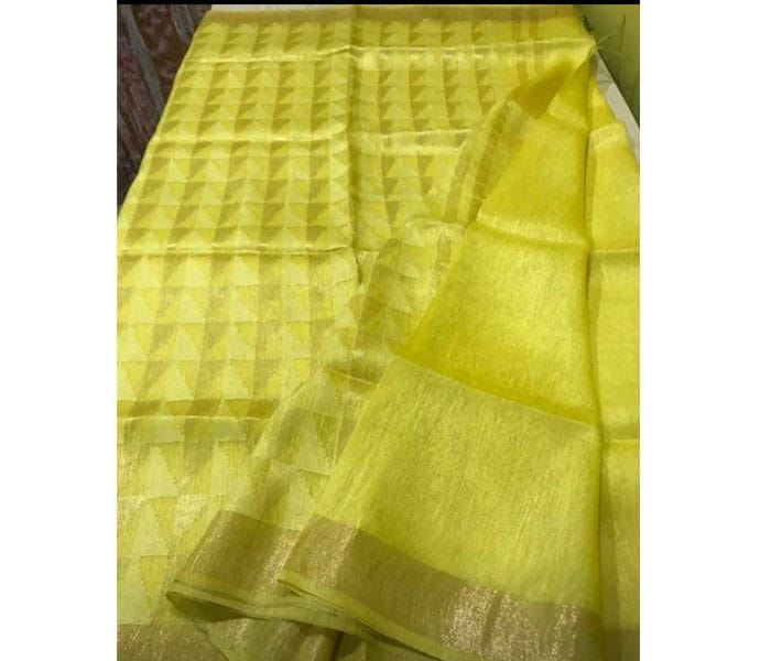 Lenin Silk Saree Yellow
