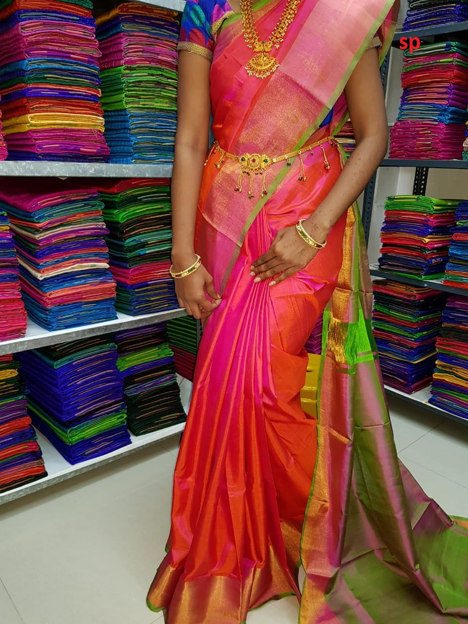Pure Uppada Plain Saree Pink With Green