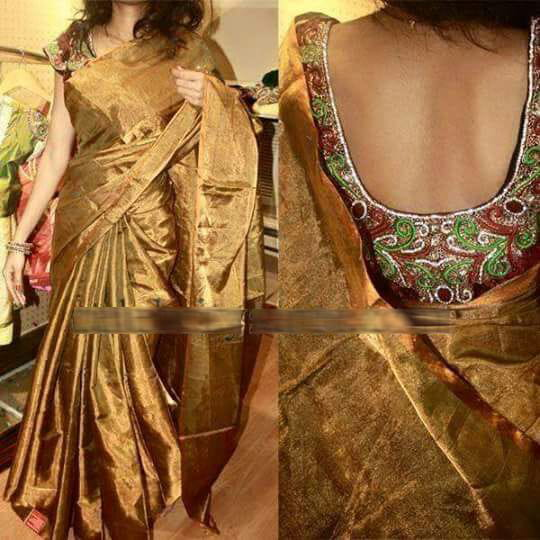Black and Golden Uppada Plain Tissue Saree