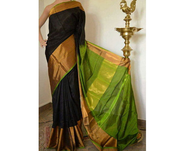 Uppada Big Border Saree Black Color