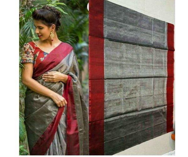 Uppada Tissue Saree Maroon Color
