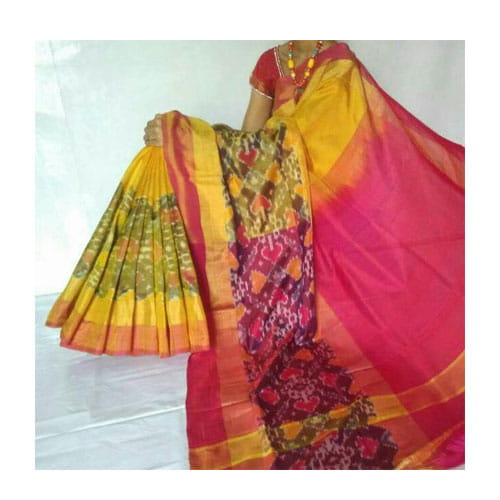 Uppada Pochampally Big Border Yellow Color Saree