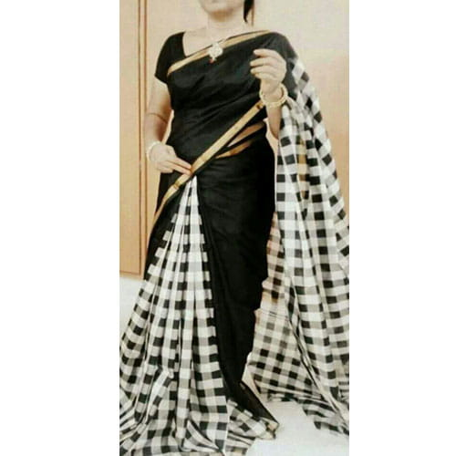 Black and White Checks Uppada Silk Saree